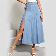 Mode femmes taille haute Denim une ligne jupe longue russie dame fête bleu bas fendu travail Pop jupes complètes