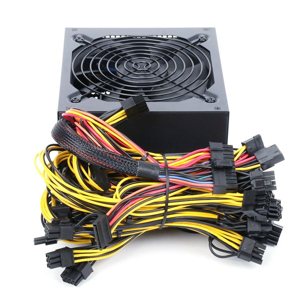 1800 واط ATX ETH التعدين إمدادات بطاقة الآلة 160 فولت-240 فولت المدخلات متعددة القنوات دعم 8 عرض بطاقات وحدة معالجة الرسومات ل جهاز تعدين بيتكوين