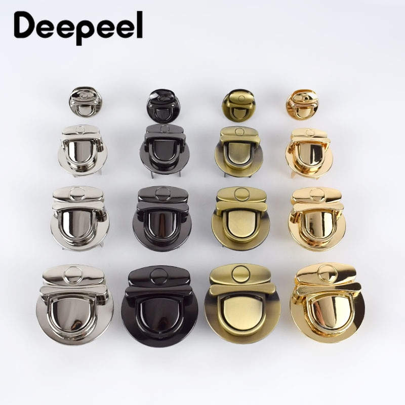 osmond alloy tone turn locks snap clasps closure buckle for bags accessories diy handbags purse alloy button replacement lock Deepeel 5pcs Metal Turn Lock Snap For Handbag Women Bag Twist Locks Clasps Closure DIY Latch Buckle Hardware Accessories H4-2