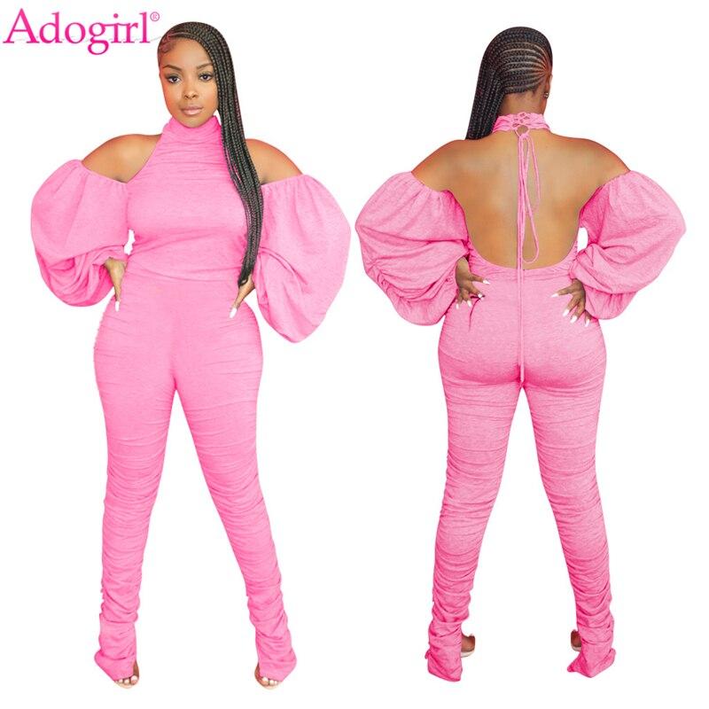 Adogirl Women Solid Fashion Jumpsuit Off Shoulder Ruched Lantern Sleeve Haler Backless Cotton Romper Stacked Pants Overalls