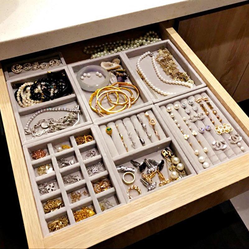 New Drawer DIY Jewelry Storage Tray Ring Bracelet Gift Box Jewellery Organizer Earring Holder Small