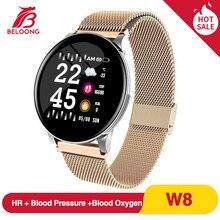 BELOONG W8 styl biznesowy inteligentny zegarek tętno ciśnienie krwi tlen pomiar podczas snu wodoodporna kamera zdalnego sterowania przypomnij