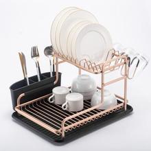 Organizador de almacenamiento de cocina de doble capa, escurridor de platos, estante de secado, soporte para fregadero de cocina, bandeja, platos, taza, vajilla, estante, cesta