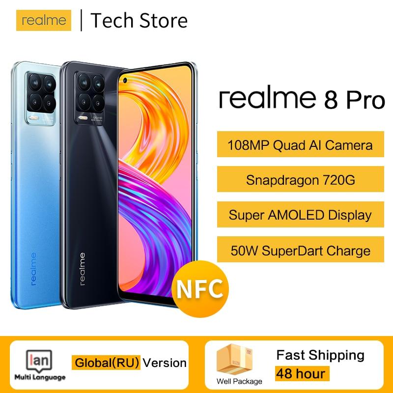 Перейти на Алиэкспресс и купить Оригинальный realme 8 pro Snapdragon 720G мобильный телефон 4500 мА/ч, 50 Вт SuperDart зарядка NFC Andriod 11 смартфон 108MP Камера глобальная версия