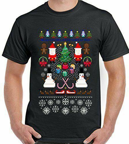Verpixelte-Camiseta de Navidad para hombre, camiseta divertida para videojuegos, PC, PS4, Xbox...