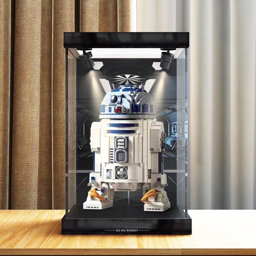 واضح صندوق عرض أكريليك الغبار حماية نموذج عرض الحال بالنسبة ليغو R2 d2 أرقام 75308 بنة
