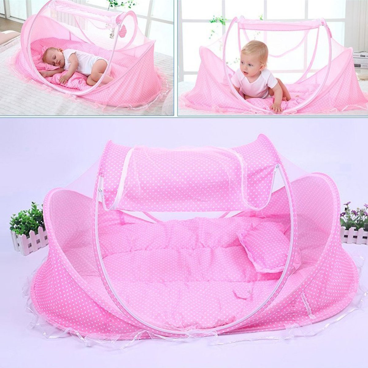 Bebé 4 Uds. Cama de bebé portátil cuna plegable mosquitera de bebé mosquitera verano niños mosquitera colchón de mosquitera para bebé