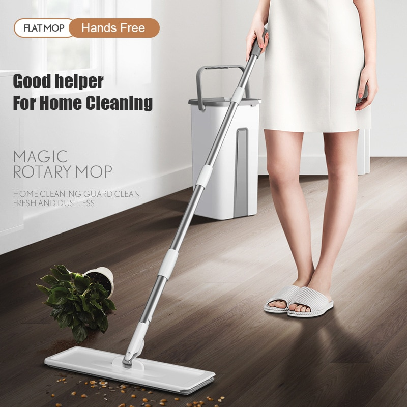 Squeeze Mop With Bucket House Wring For Cleaning Wet Floors Wipe Help Washing Windows Lightning Offers Magic Lazy House Mophead enlarge