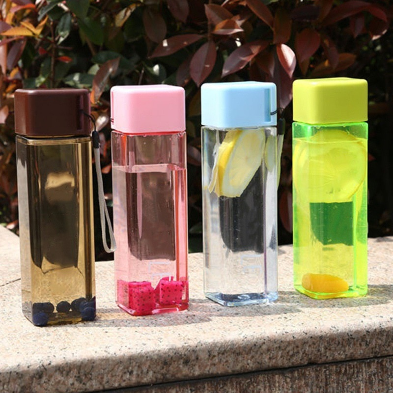 480ml Square Bottle For Water Sport Portable Rope Kids Drinkware Outdoor Leak Proof Seal Gourde For