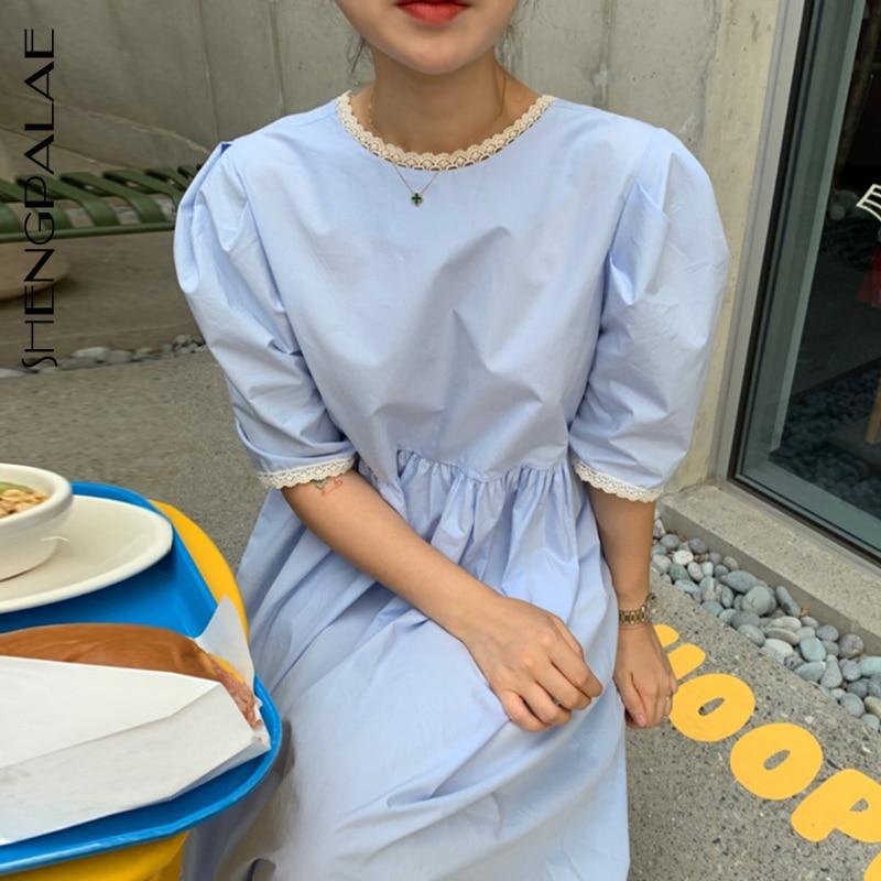 SHENGPALAE 2020 New Summer Women Vintage Loose High Waist Slim Was Thin Elegant Solid Color Puff Sleeve Maxi Dress ZA4893
