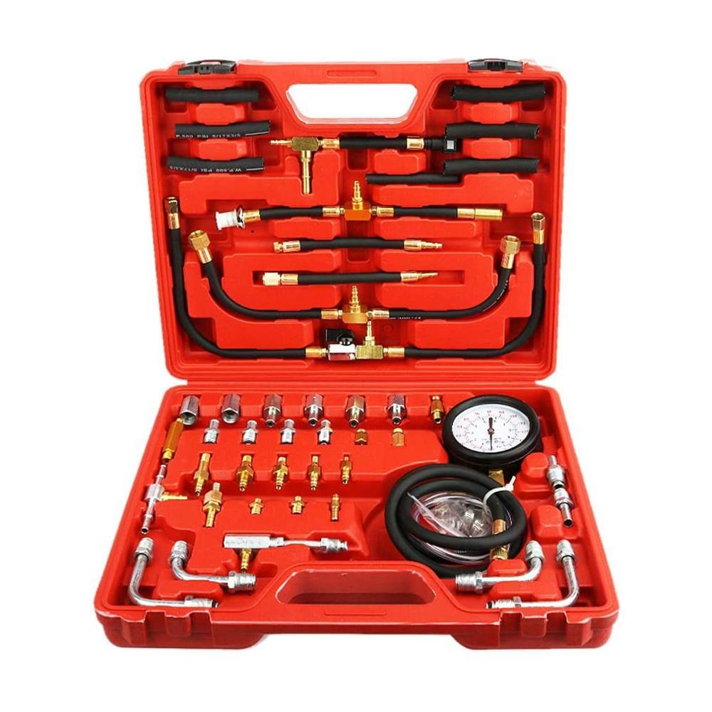 automotive tools of 22pcs fuel TU-443 Auto Fuel System Pressure Gauge fuel Injection Pressure Test Gauge Automotive Fuel Pressure Testers 0~10bar