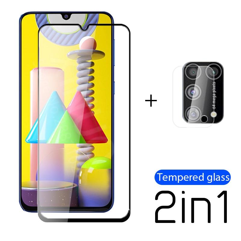 Vidrio Templado 2 en 1 para Samsung Galaxy M31 M11 M21 película protectora de pantalla de cámara para Samsung M30S M30 M 31 M 21 M 11 película glas