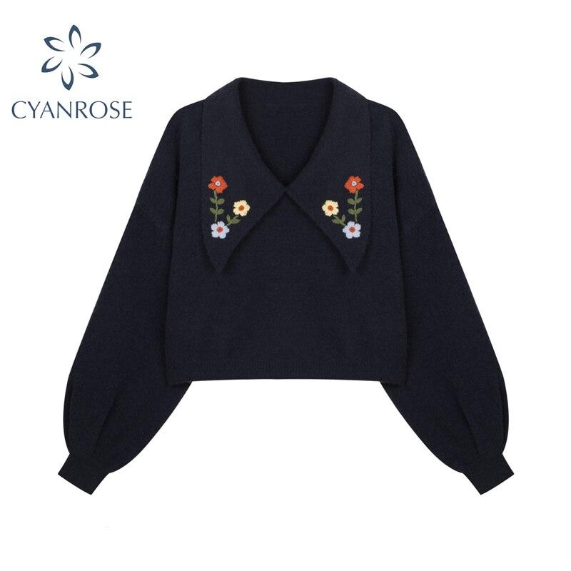 Gestrickte Pullover Frauen Herbst Koreanische Elegante Casual Pullover Drehen Unten Kragen Langarm Stricken Jumper Damen Pullover Tops