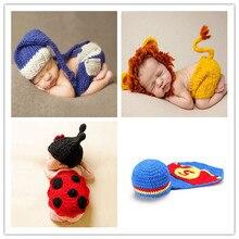 Chapeau de bébé en Crochet doux fait à la main   Accessoires de photographie pour nouveau-nés, Costume tricoté Fotografia pour bébés de 0 à 12 mois, ensembles de chapeaux de bébé de qualité