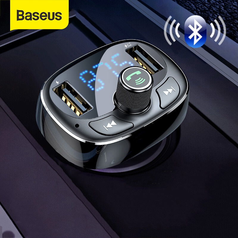 Baseus-شاحن سيارة USB مزدوج ، جهاز إرسال FM ، مغير مساعد ، Bluetooth ، صوت السيارة ، مشغل MP3 ، شحن سريع 3.4A
