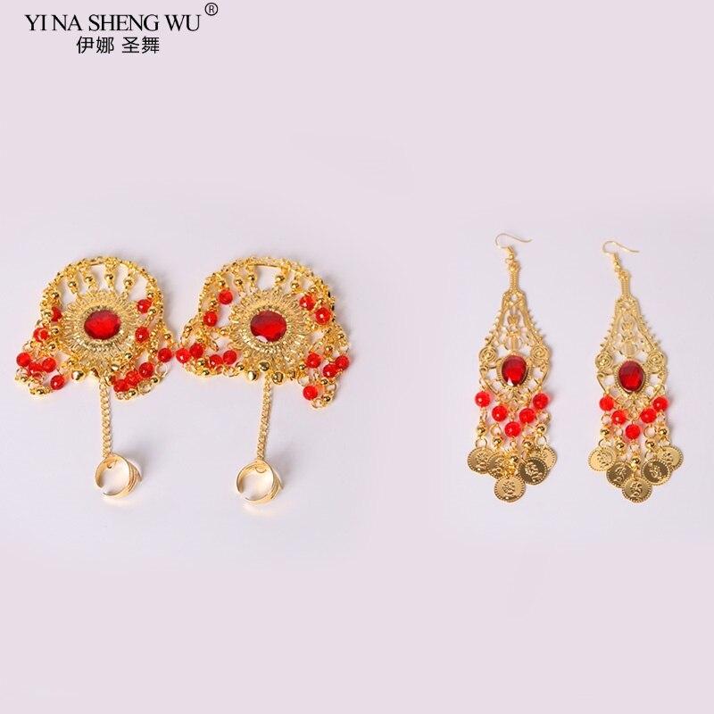 Índia dança barriga desempenho acessórios jóias colar brincos anéis pulseiras lenço véu para mulher