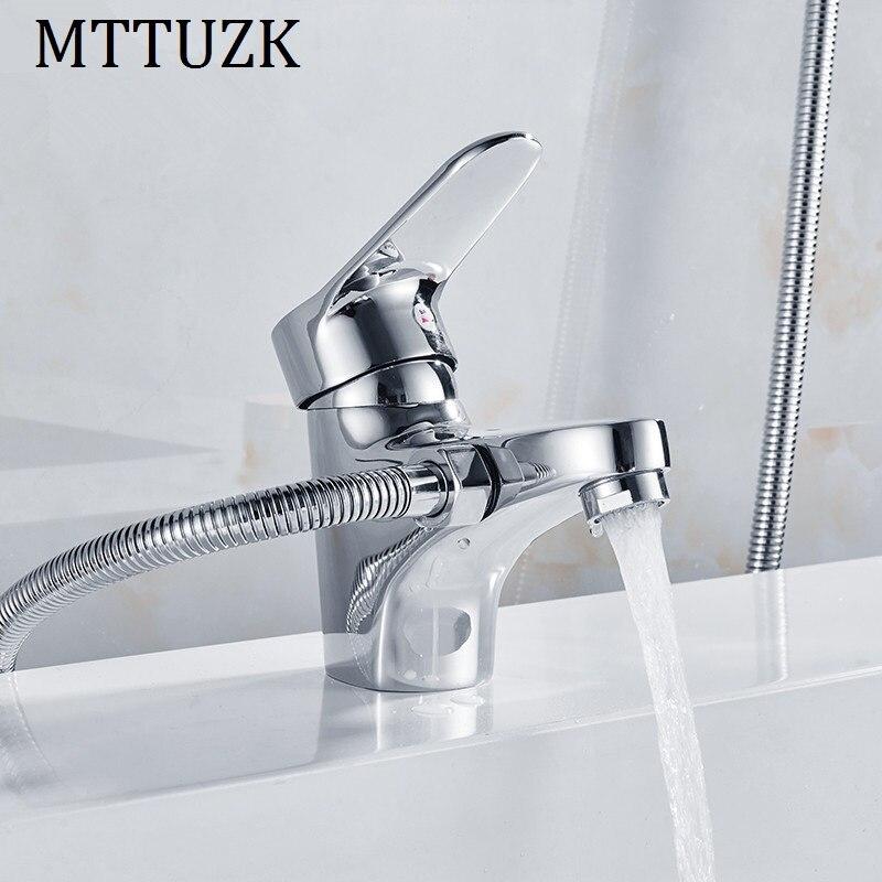 MTTUZK-مجموعة دش نحاسية مطلية بالكروم ، خلاط مياه ساخن وبارد ، مقبض مزدوج ، مجموعة صنبور حوض الاستحمام