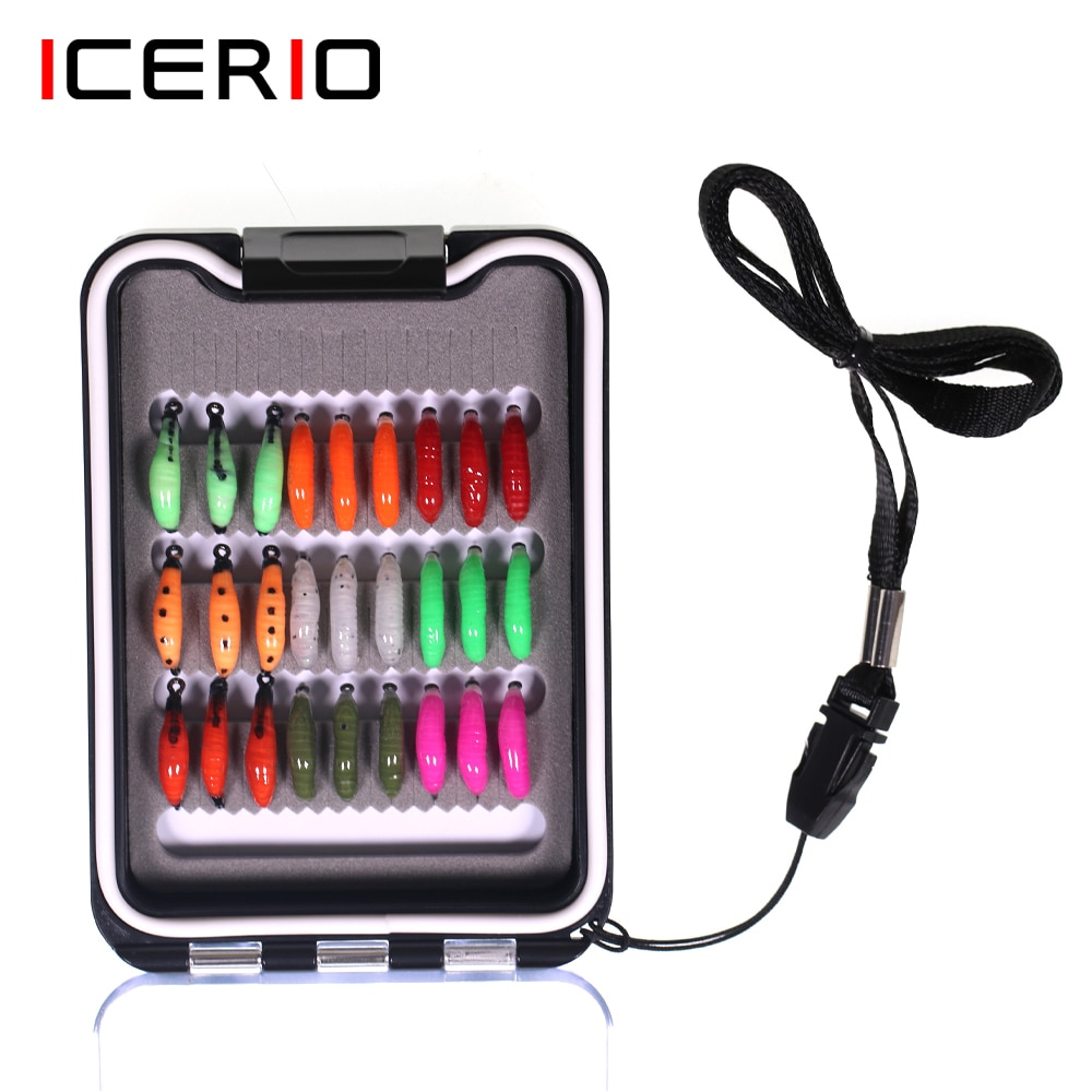 smalley fishing flies ICERIO 27pcs Fishing Flies Kit Earth Worm Fly Nymph Scud Bug Worm Flies For Bluegill Whitefish Trout Fishing Lure Baits 8# 10#