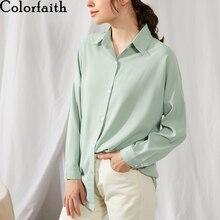 Блузка Colorfaith женская, летняя, однотонная, с разноцветными отворотами, однобортная, повседневная, большие размеры, розовый, BL1383