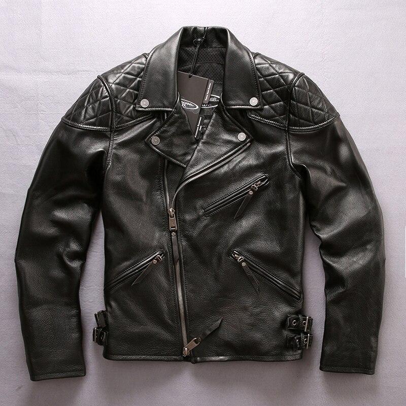 Envío Gratis chaqueta de cuero genuino de los hombres nuevo estilo de cuero de vaca motocicleta negro chaqueta oblicua cremallera Delgado ajuste abrigos de invierno