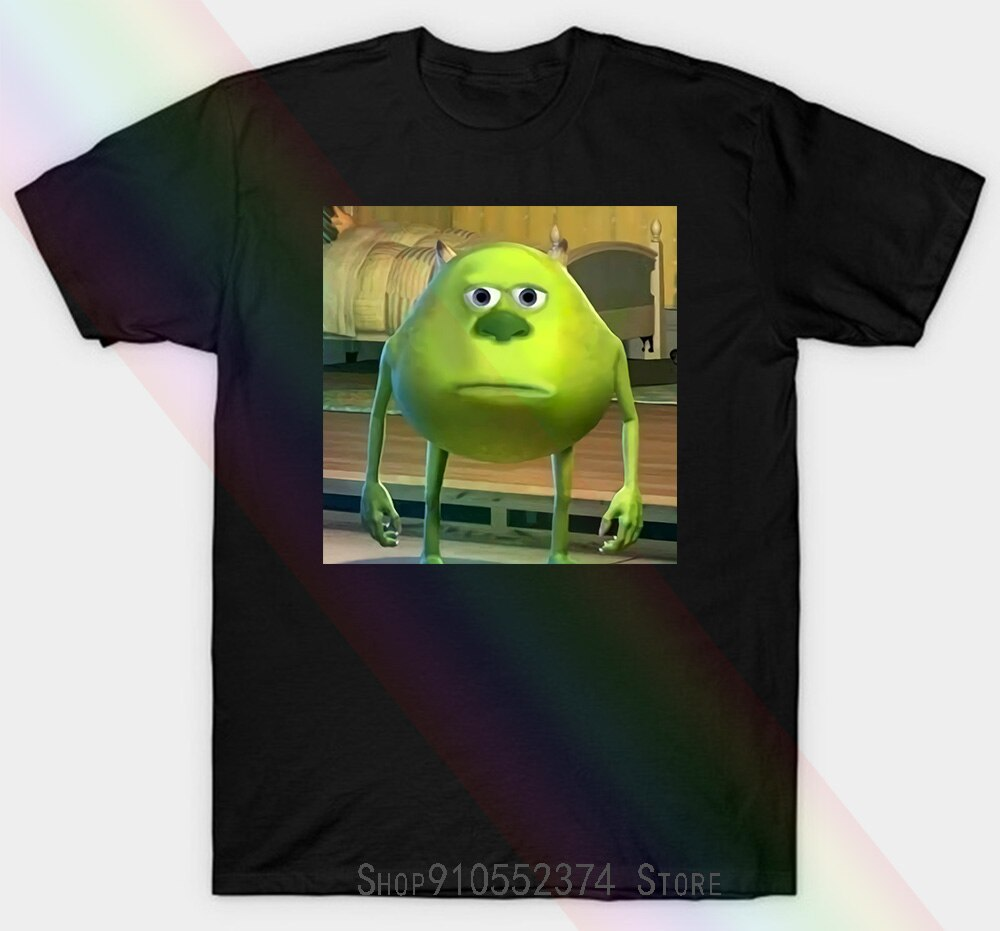 Homens Unisex T-shirt Mike Wazowski Com Sully Cara Meme Unisex T-shirt Das Mulheres T-shirt Unisex