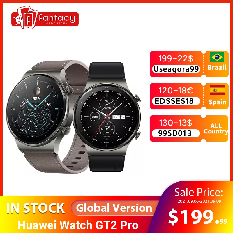 Get Global Version Huawei Watch GT 2 PRO Smart Watch GPS 14 Days Battery Life Waterproof Phone Wireless ChargingFor Android iOS
