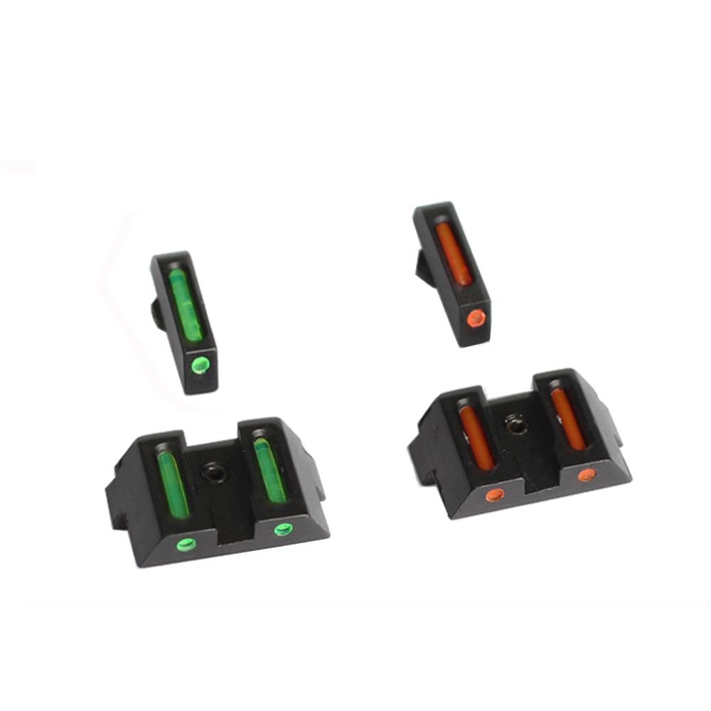 Nuevo Producto, mira óptica frontal y trasera táctica de fibra óptica con recubrimiento protector permanente para accesorios de pistola