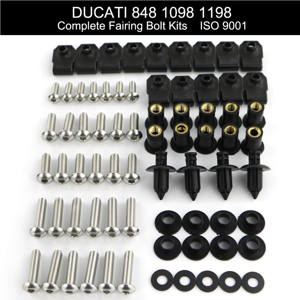 Для Ducati 848 1098 1198 мотоцикл полный комплект обтекателя зажимы для обтекателя Комплект болтов для кузова гайки для скорости винты из нержавеющей стали