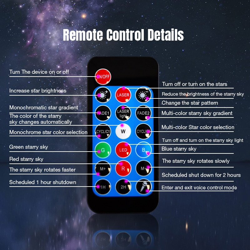 Romantic Starry Sky Galaxy Projector Nightlight Child Blueteeth USB Music Player Star Night Light Colorful Projection Lamp Gifts enlarge