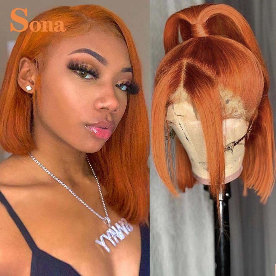 Short Orange Ginger Bob Lace Front Wigs Colored Highlight Lace Frontal Wig Brazilian Ombre Red Human Hair Wig For Women Closure