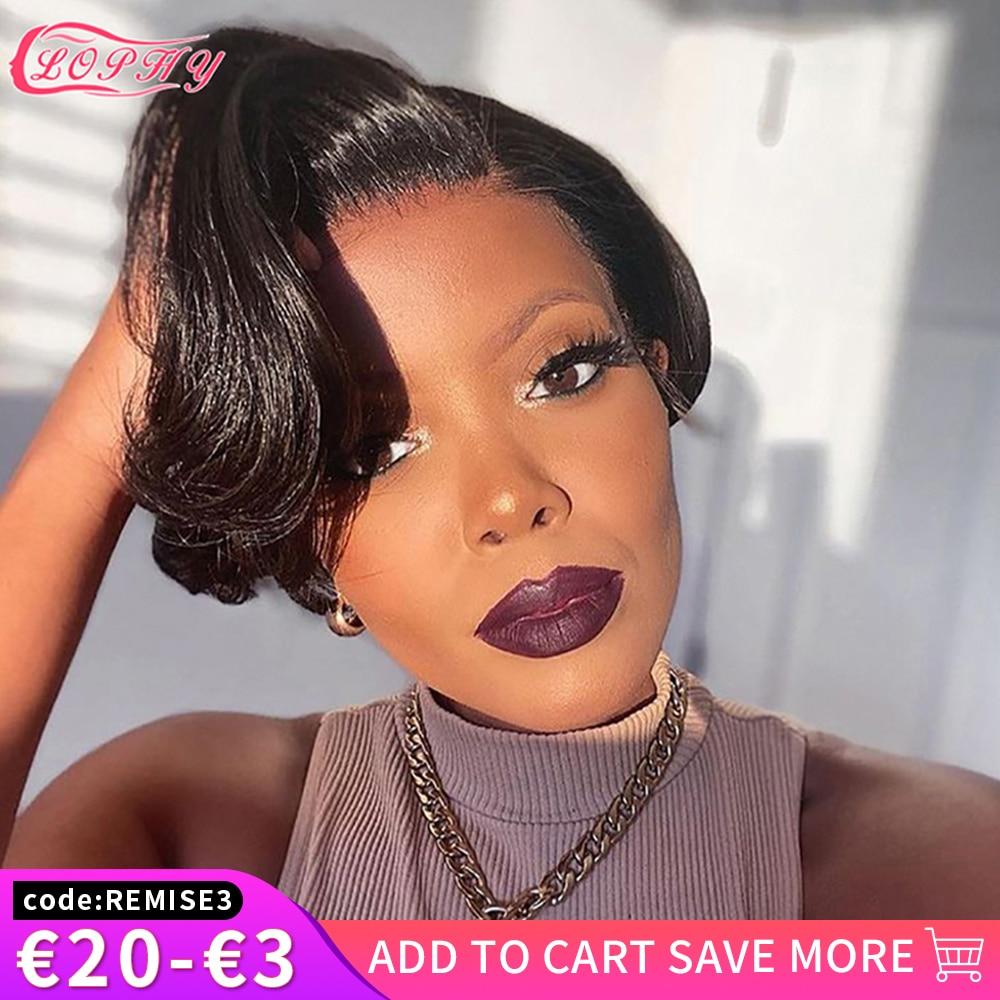 Short Pixie Cut Wigs Straight Bob Human Hair Wig Full Machine Made Human Hair Wigs For Black Women No Lace Cheap Hair Bob Wig