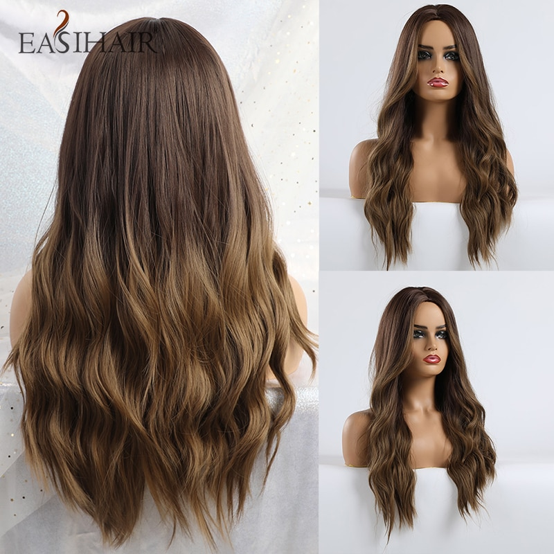 EASIHAIR Long Brown Ombre Wigs Synthetic Wigs for Black Women Natural Hair Wavy Wigs Heat Resistant Daily Wig for Brazilian Afro