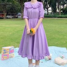 Summer Peter Pan Collar Short Sleeve Dress 2020 New Solid Elastic High Waist Dresses Vintage Knee Length Midi Dress Women 9857