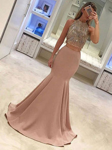 Beading Mermaid / Trumpet Party Gowns Suit Jewel Sweep/Brush Floor length Party Dresses Sleeveless sparkleParty Dresses