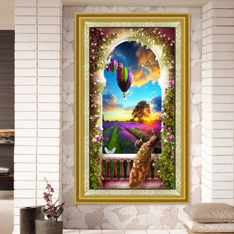 Павлин воздушный шар пейзаж 5D DIY Полная алмазная живопись сверло для вышивки рукоделие Набор для вышивки крестиком домашний декор