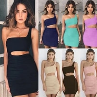 new hot fashion sexy women mini bodycon summer dress club hollow out ruched solid color white black party bandage ladies dresses