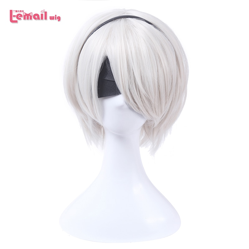 L-email wig Nier Automatas 2B 9S Cosplay Wigs White Short Men Cosplay Wigs Halloween Heat Resistant Synthetic Hair No.2 Type B