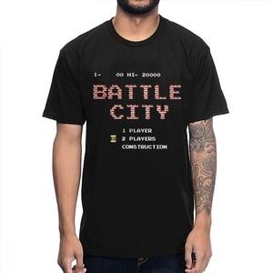 Natural Cotton Old School  Game Battle City T Shirt Casual For Men Homme Tee Shirt Plus Size Guys Punk Designer Streetwear