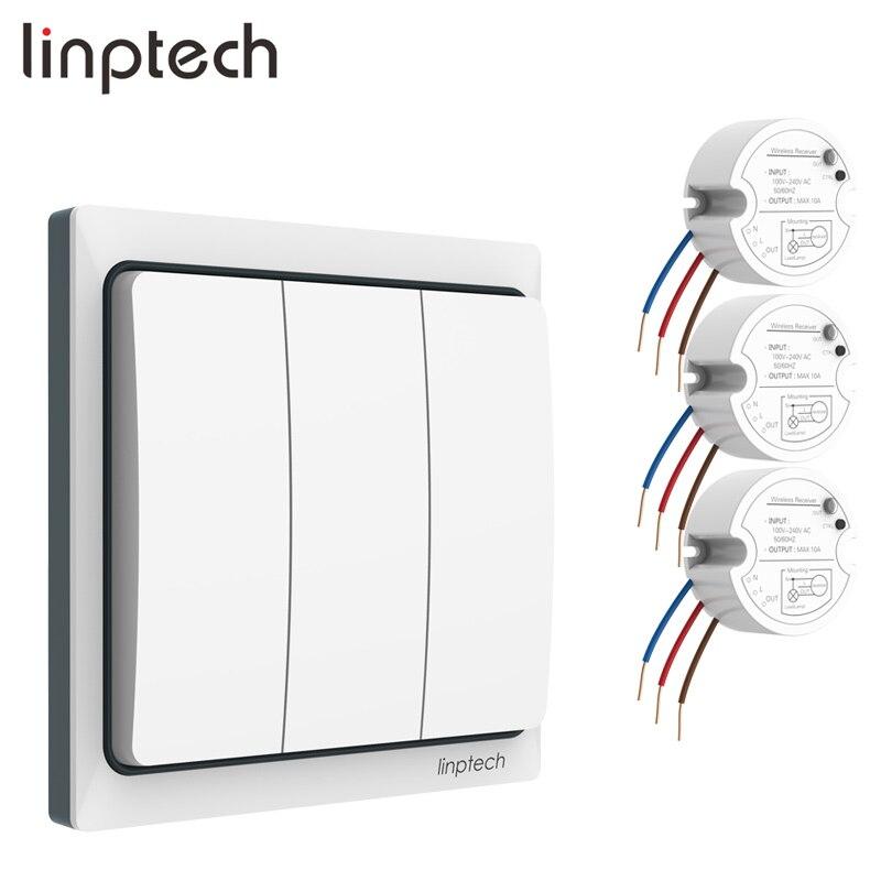 Linptech-مجموعة مفتاح الإضاءة K4RW3 ، rf لاسلكي ، يعمل بالطاقة الذاتية ، مع جهاز تحكم عن بعد