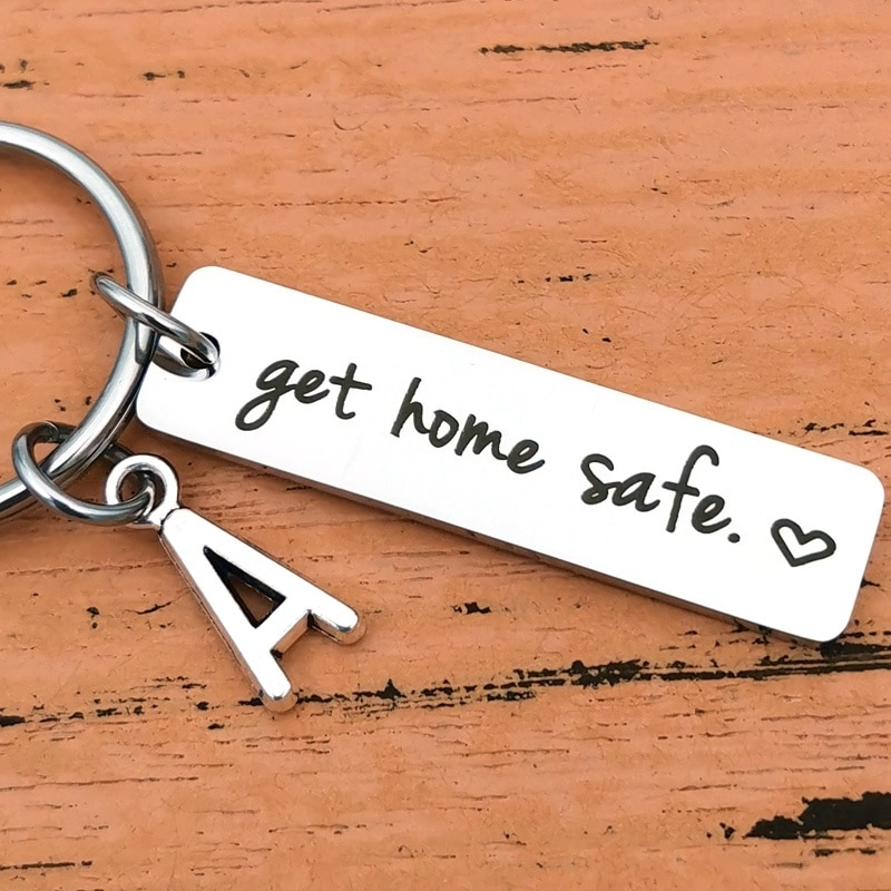 Fathers Day Gifts Drive Safe Charms Keychain Get Home Safe Dad Husband Boyfriend GirlfriendGift