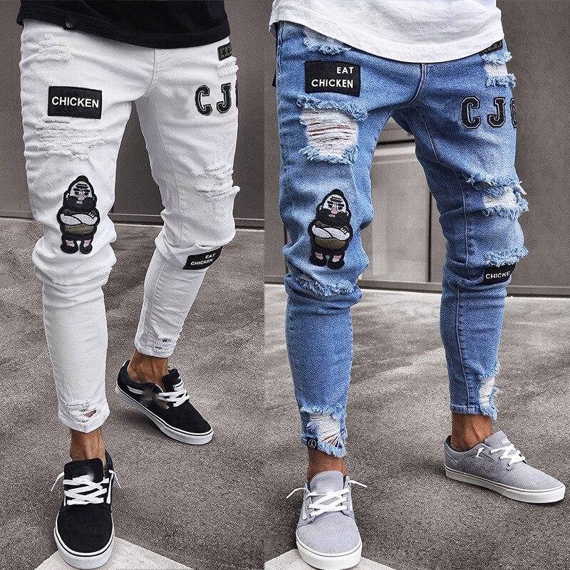 Мужские джинсовые брюки-карандаш, белые джинсовые брюки высокого качества, мужские рваные черные облегающие джинсы с вышивкой, полная длин...