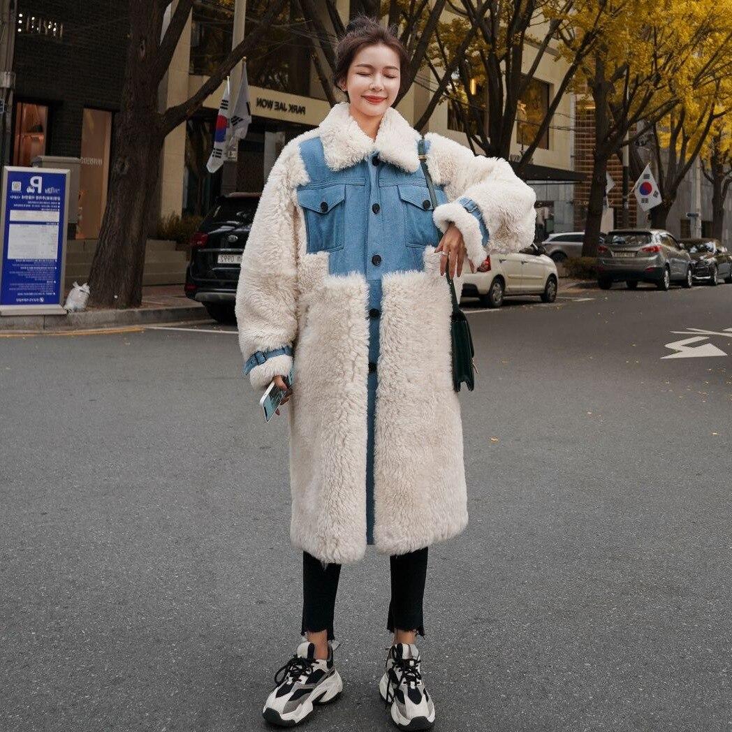 الشتاء Lamb الصوف معطف الإناث الكورية تصميم الشعور الدنيم خياطة التباين اللون التلبيب واحدة الصدر القطن طويل سميكة سترة