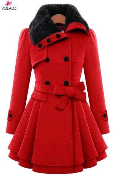 إمرأة نمط جديد خمر معطف الصوف مزدوجة مشبك ضئيلة معطف واقٍ من المطر سيدة الفراء طوق peطوق معطف الشتاء أبلى حجم كبير