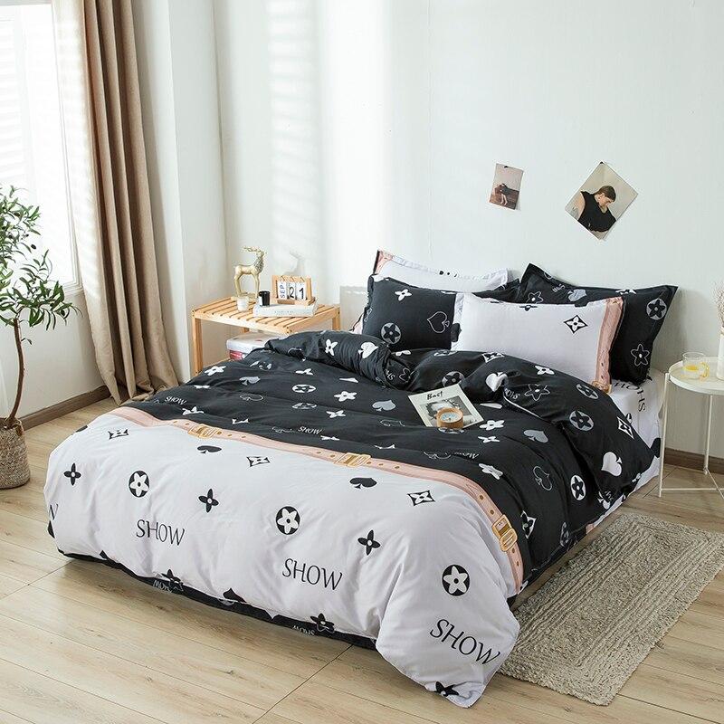 مجاميع راحة الفراش ورقة الكرتون موضة بسيطة لطيف الفراش مجموعات الطفل التوأم كامل الملكة حجم المخدة حاف الغطاء غطاء سرير
