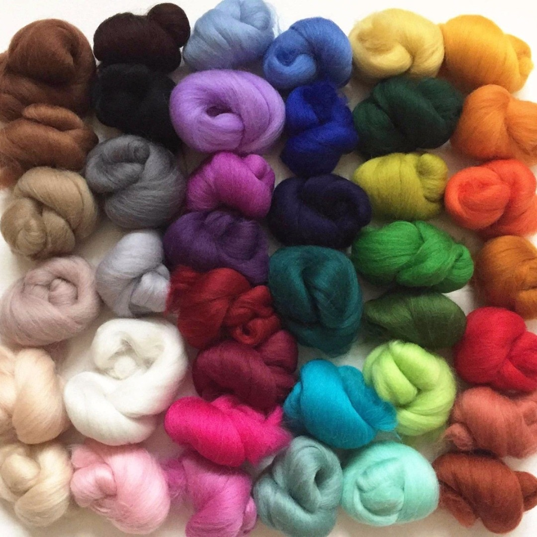 108g Mix 36 Colors Merino Felting Wool Tops Soft Roving Wool Fibre for Needle Felting & Wet Felting DIY Doll Needlework