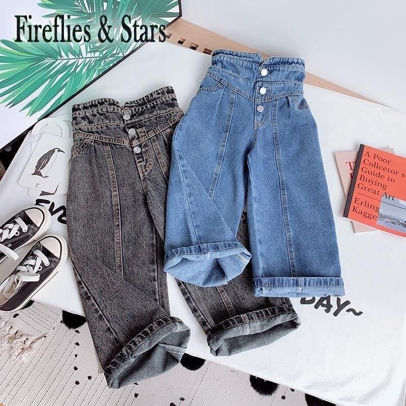 Весенне осенние джинсы для девочек детские джинсовые штаны детские широкие брюки для девочек детские брюки с высокой талией бутон на пуговицах для детей от 3 до 14 лет Джинсы    АлиЭкспресс