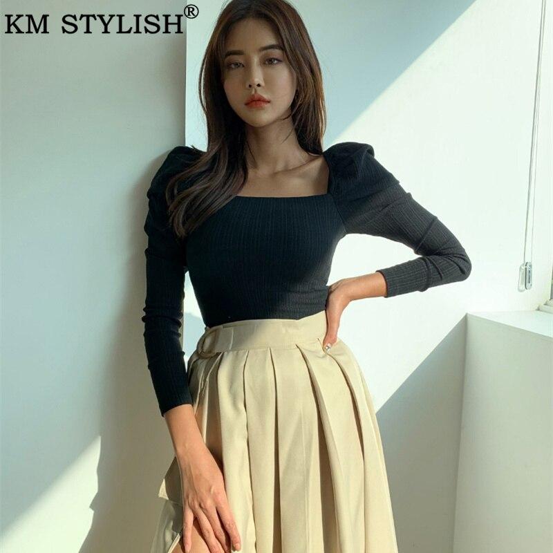 Camiseta para mujer Corea 2019 otoño nuevo temperamento para mujer mallas negras salvajes cuello cuadrado Puff manga larga Camiseta inferior