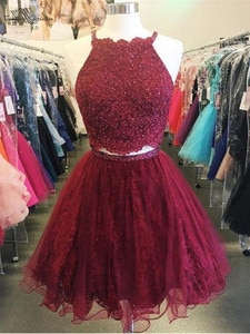 Two Pieces Burgundy Cocktail Dresses Sexy Backless Lace Appliques Beaded Short Homecoming Dresses Prom Party Gowns 2020