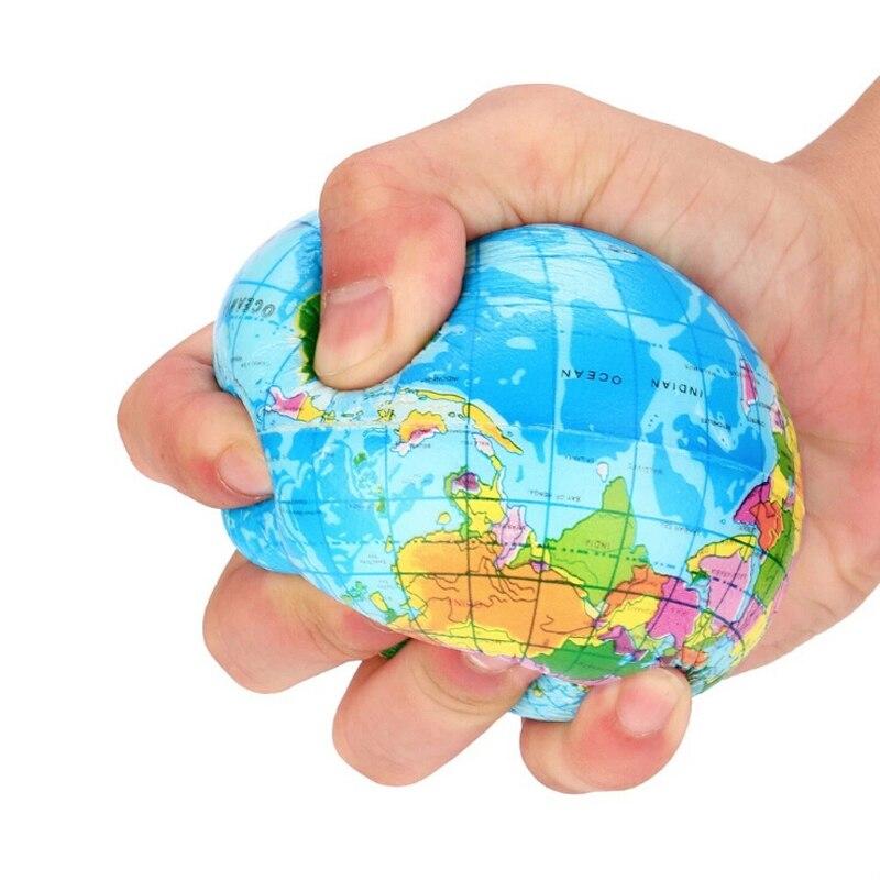 63mm/76mm/100mm Anti estrés alivio del mapa del mundo bola de espuma Bola del Mundo que cabe en la mano Planeta Tierra bola juguetes para niños niñas niños caliente