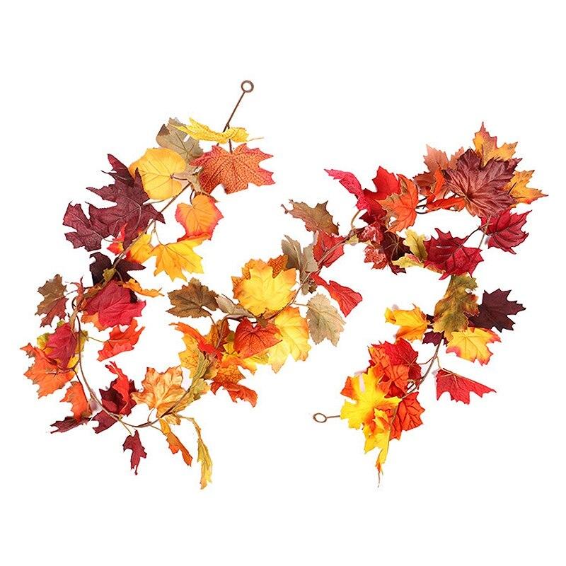 XD-1 caliente Uds otoño Hojas de arce guirnalda otoño planta colgante para el hogar jardín pared puerta telón de fondo chimenea Decoración